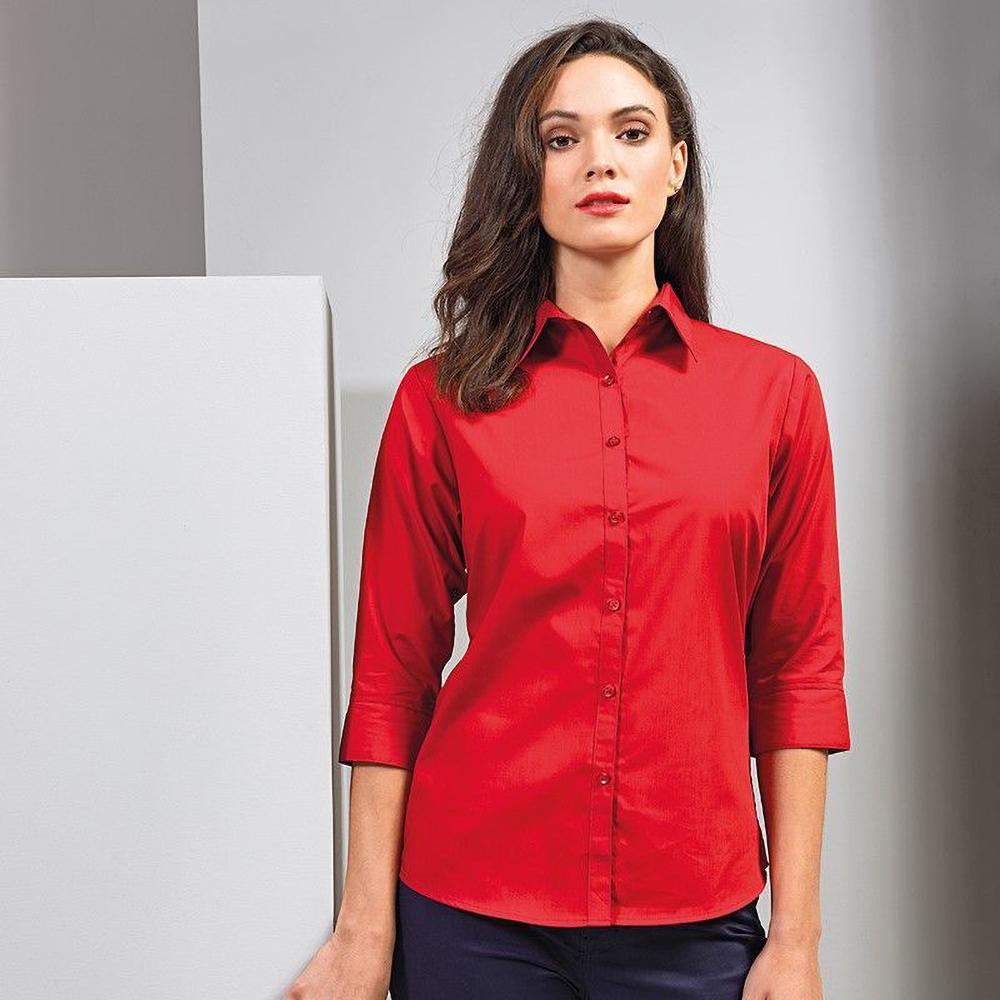Womens/Ladies Premier 3/4 Sleeve Poplin Blouse/Plain Work ...