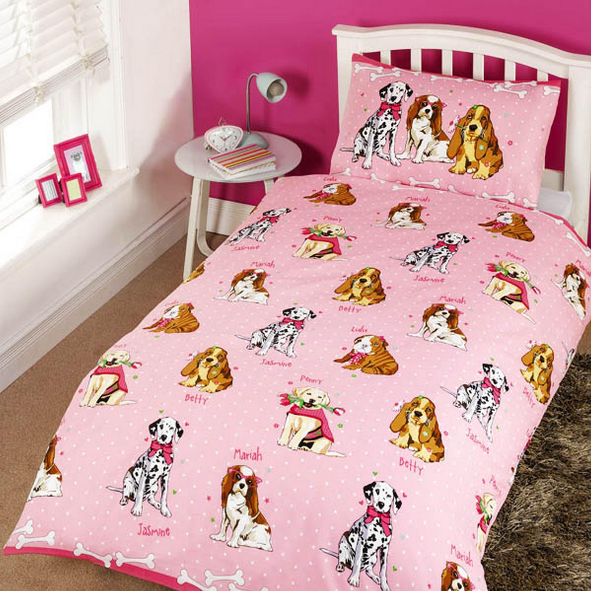 Childrens Girls Glamour Dogs Design Single Twin Duvet