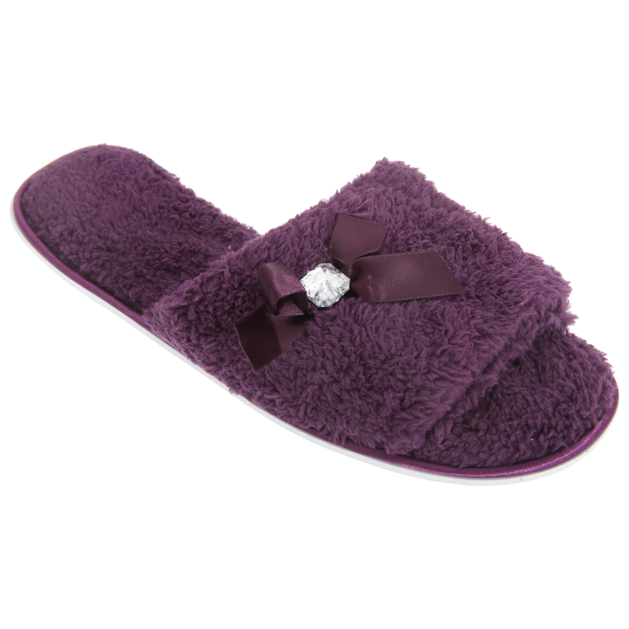 Womens/Ladies Open Toe Coral Fleece Slippers With Jewel And Ribbon Detail