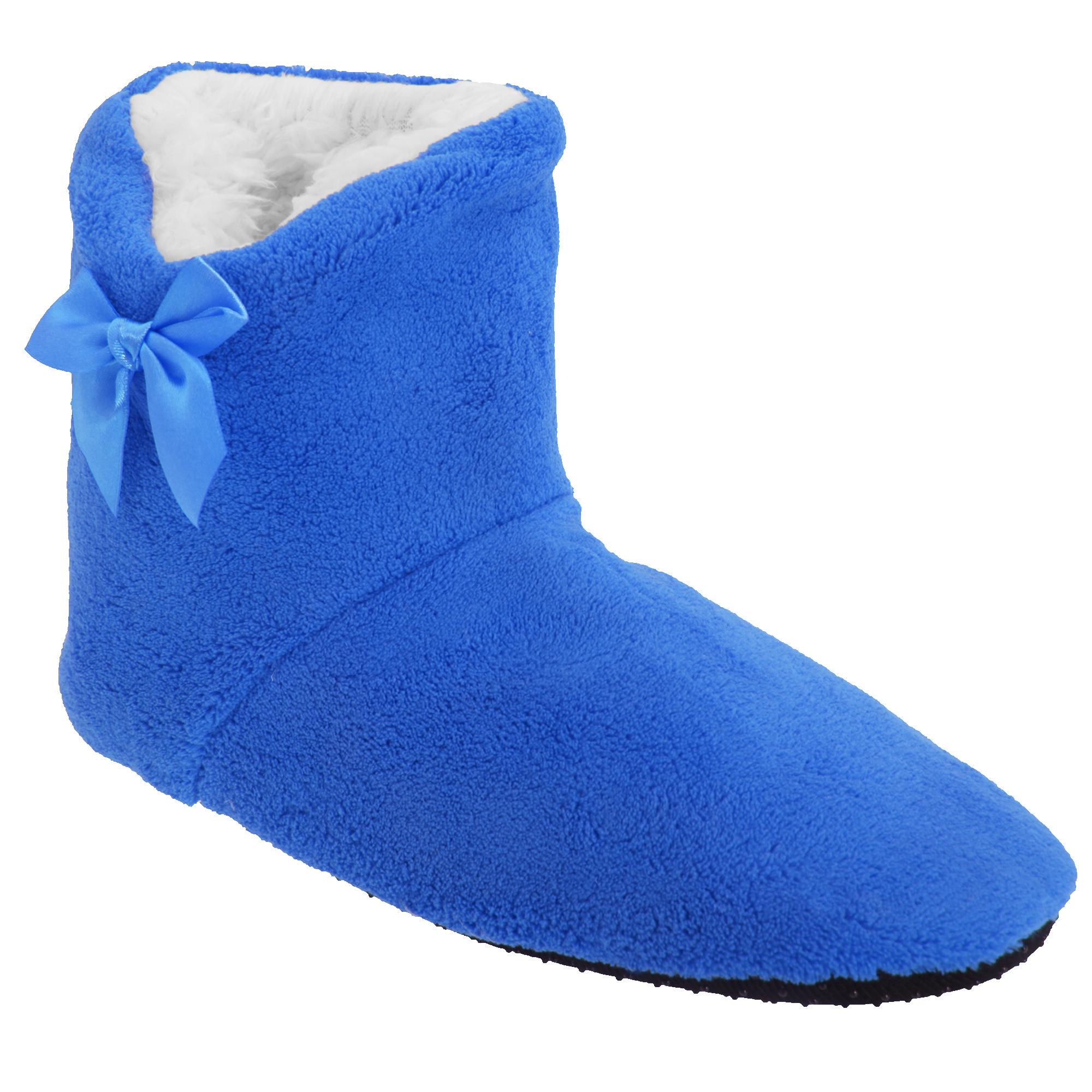 Mujer/Dama Detalle De Moño Super Suave Suela Zapatillas 5 Colores Reino Unido 4/6
