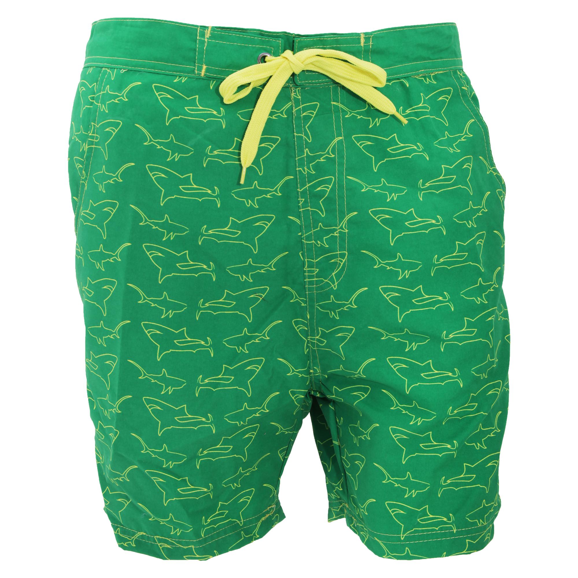 Mens Shark Print Summer Swim Shorts | eBay |Shark Board Shorts For Men
