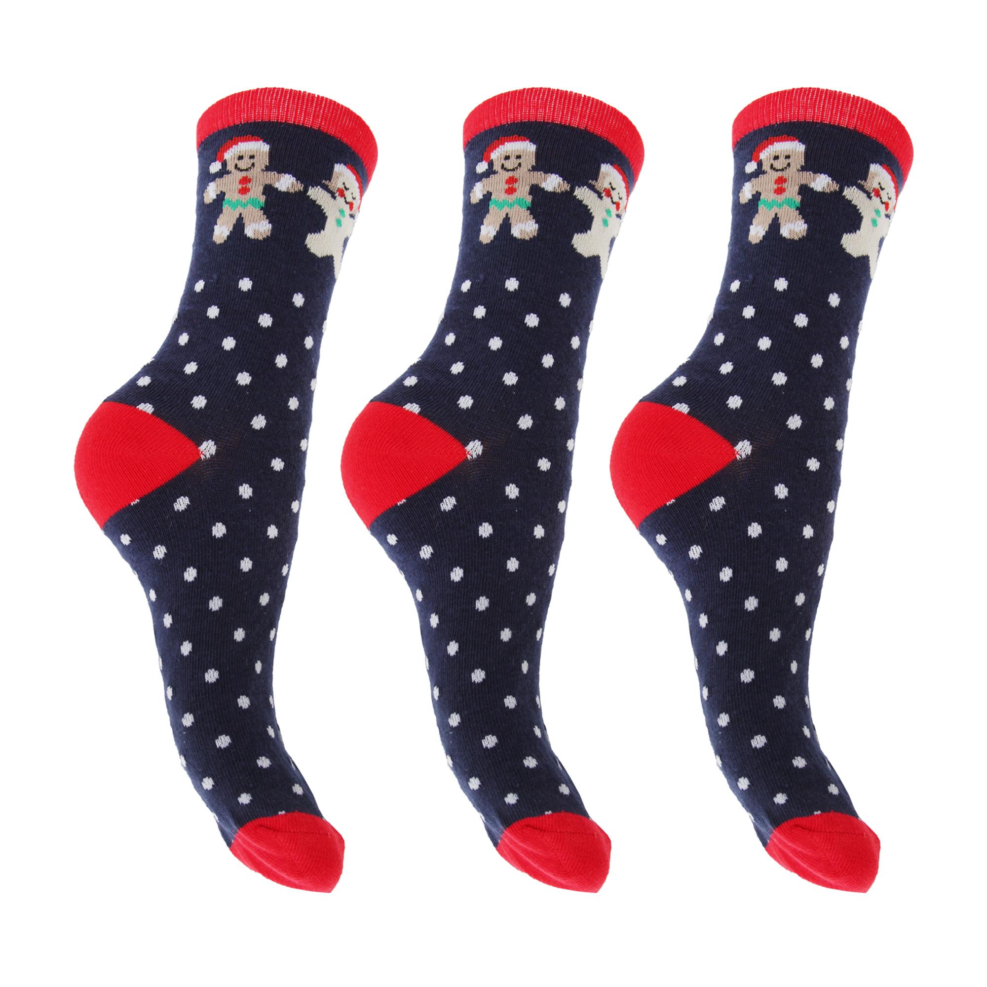 FLOSO señoras para mujer Navidad Novedad/Calcetines (surtidos Paquete de 3)